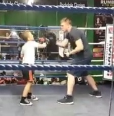Stan on the pads with Kieran Farrell