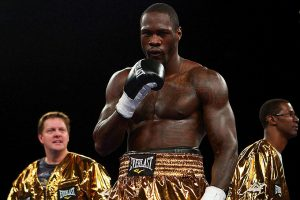"""08.04.2012 ~ FOX SPORTS [Wilder/Velez] ~ Mobile, Al [Expo Center] ~ 2008 United States Olympic Bronze Medalist Deontay Wilder took his anger out in the opening moments against Kertson """"Warrior"""" Manswell (22-6, 17 KOs), crushing him with the 1st right hand thrown.  Wilder dropped Manswell three times in the opening frame, with the referee waving it off at the 2:10 mark."""