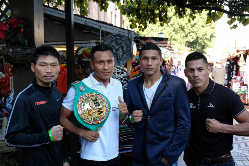 (Left to Right Takashi Miura, Francisco Vargas, Miguel Berchelt, and Miguel Roman pose at Olvera Street in downtown Los Angeles after their press conference on January 25