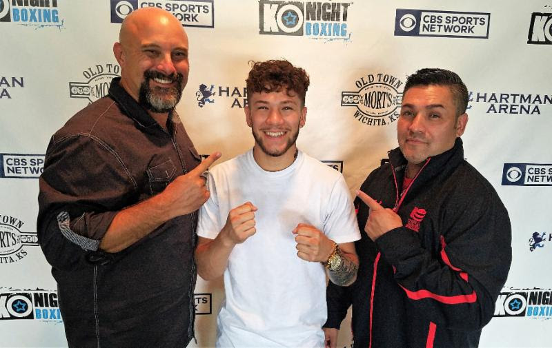 (L to R) Promoter John Andersen 2016 Olympic bronze medalist Nico Hernandez and his father head trainer Lewis Hernandez