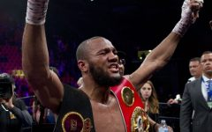 Shows Julian Williams victorious after war with Jarrett Hurd